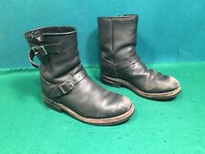 """Mens 8"""" Black Leather Dayton Low Rider Motorcycle Boots. Size 6 1/2."""