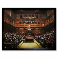 Banksy Devolved Parliament Graffiti Brexit Painting Wall Art Print Framed 12x16