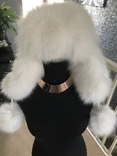Real White Fox Fur Hat Ushanka, White Leather Top