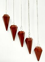 Red Jasper Faceted Cone Pendulum Healing Dowsing Crystal Pendulum
