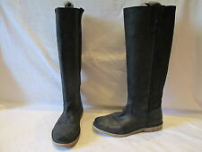 LA REDOUTE CREATION BLACK LEATHER MID HEIGHT PULL ON BOOTS UK 6 EU 39 (903)