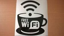 FREE WIFI Cafe Bar Caffè Tè Coppa VETRINA segno Porte Adesivo Vinile Decalcomania Divertente