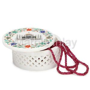 Taj Mahal Jewelry Box Round Trinket Box White Marble Inlay Handmade Gift