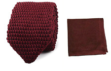 Hand Made Men's Fashion Knit Knitted Tie+Hankerchief Set Hanky Woven Pointed UK