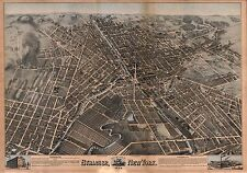 1874 H.H. BAILEY, BIRD'S EYE VIEW OF SYRACUSE, NEW YORK COPY POSTER MAP