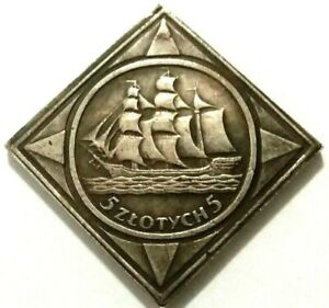 5 ZLOTYCH  -  POLAND 1936  -  SAILBOAT  -  SOUVENIR COIN MADE OF SILVERED METAL
