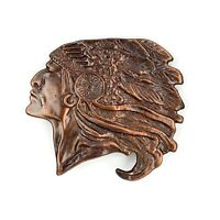 Vtg Solid Brass Native American Indian Chief Head Belt Buckle Western