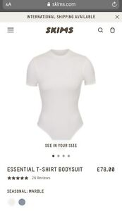 SKIMS ESSENTIAL T-SHIRT BODYSUIT Marble Size S Off White BNWT RRP £78