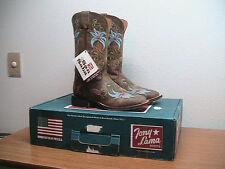 Womens 7 B Tony Lama San Saba 7934L Brown Floral Square Toe Western Cowboy Boots