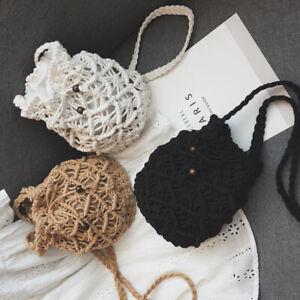Ladies Tote Bucket Bag Straw Handbag Ethnic Woven Crossbody Small Shoulderbag