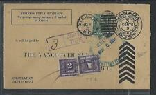 CANADA COVER (PP0811B) 1931 REPLY ENV 3C+1C POSTAGE DUE 1C+2C STEWART, BC