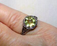 Estate ~2 CT Natural Green Amethyst Prasiolite 925 Sterling Filigree Ring (5.5)