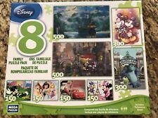 EUC 8 Disney Family Puzzle Pack 150, 300, 500 Pieces Mega Puzzles Mickey Set Lot