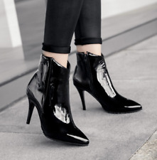 Women Pointed Toe Patent Leather Ankle Boots Shoes Stilettos High Heel Shoes new