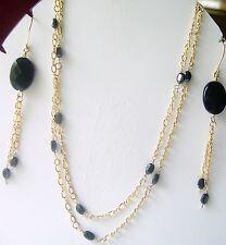 "Black Garnet 32 "" Station Necklace YGF Figure 8 Chain Toggle clasp"