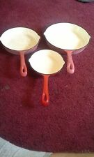 Vintage Enameled  Cast Iron Skillet. Red and Cream- Set of 3