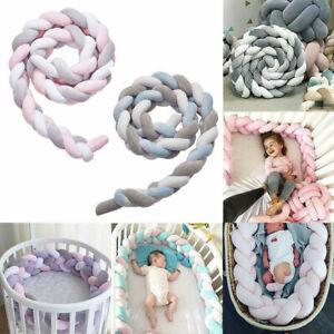 3/4M Cot Bumper Braid Pillow Nursery Braided Kids Bed Decor for Crib Nursery