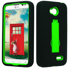 Black/Green 2Layer Hybrid Stand Hard Case For LG Ultimate 2 L41C Prepaid Phone