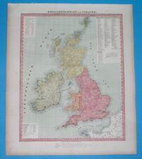 1856 ORIGINAL MAP UNITED KINGDOM GREAT BRITAIN IRELAND ENGLAND SCOTLAND WALES
