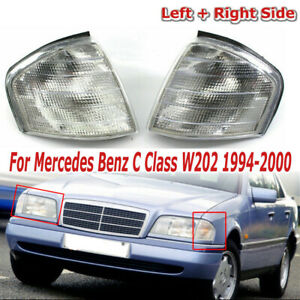 For Mercedes Benz C Class W202 94-2000 Clear Corner Turn Signal Light Lamps Pair