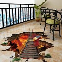 3D Brücke Fußboden Aufkleber Entfernbare Wandabziehbild Vinylkunst Lustige Diy