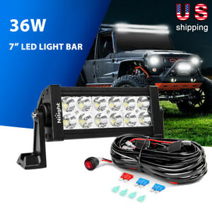 Nilight 7Inch 36W Spot Off Road LED Light Bar Driving Lights 16AWG Wiring -2Lead