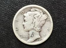 1918-S Mercury Silver Dime U. S. Coin D9257