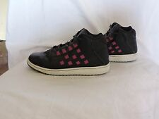 Air Jordan for women size 7 has purple nylon woven through leather