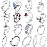 European 925 Sterling Silver Wedding Finger Ring Jewelry For Fashion Women Girls