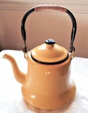 Vintage Yellow Enamel Metal Teapot Kettle with Straw Wrapped Handle from Japan