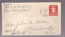 Us Postal Cover Postal History Texas To Ohio 1926 - 2¢