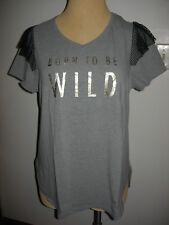Lane Bryant Livi Active Born To Be Wild Graphic Tee w/ Mesh Ruffle 14/16 14W 16W