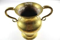 Antique 60s Mid Century Modern Solid Brass Handled Table Flower Vase Holder