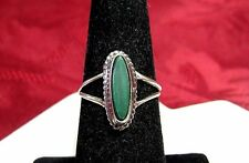 925 STERLING SILVER MARQUISE CUT GREEN JASPER IN ROPE STYLE BEZEL RING SIZE 6.25