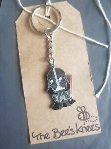 Darth Vader Star Wars enamel charm handmade keyring silver key ring UK Seller