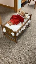 Vintage Doll Cradle, Rocks, Complete With Baby, Mattress ,Quilt And Fitted Sheet
