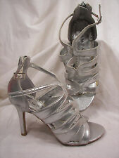 New Rampage Silver Stiletto Gladiator Sandals 6.5M Back Zippers