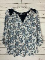 Papermoon Stitch Fix Women's S Small White Blue Floral Lace Spring Blouse Top