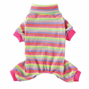 Striped Small Pet Dog Jumpsuit Pajamas Clothes Puppy Cat Coat Homewear Costumes