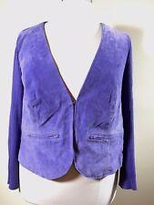 JESSICA LONDON Plus Size 18/20 Purple Suede Leather Cotton Vest Cardigan Sweater