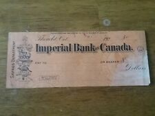 Vintage Imperial Bank Of Canada 1920's Bank Check