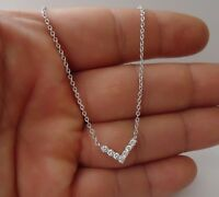 925 STERLING SILVER CURVY V - SHAPE  PENDANT NECKLACE W/ .50 CT ACCENT/ 18''