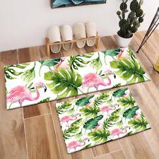 Watercolor Tropical Leaves Monstera Flamingo Area Rugs Bedroom Kitchen Floor Mat