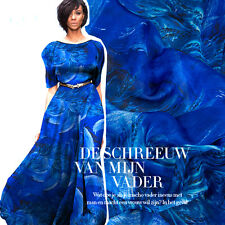 100% PURE SILK CHIFFON FABRIC ROYAL BLUE WITH FEATHERS PRINT BY THE METER S234