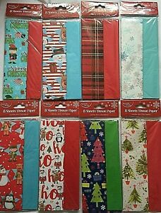 Luxury Christmas 8 Sheets Tissue Paper Wrapping Gifts Tissue Paper XMAS
