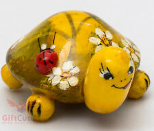 Wooden Tortoise Turtle w Ladybug figurine handmade and hand painted in Russia