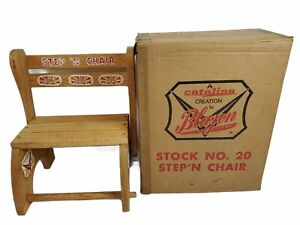 Vintage Childrens STEP 'N CHAIR Kids Convertible Step Stool Chair Catalina w/box