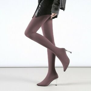 Womens Sock Boots Stretch Slim Pantyhose High Heel Long Boots Pointed Toe Shoes