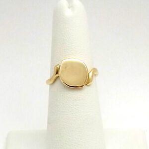 Vintage 14k Gold Engravable Letter Initial Signet Bypass Ring