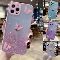 For iPhone 12 Pro Max Samsung A21 Bling Glitter Butterfly Clear Soft Case Cover
